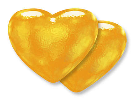 Two golden yellow pattern hearts - classic love symbol photo