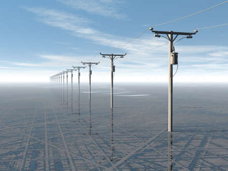 amperage: concept of electric power lines and blue sky, 3D high quality rendered