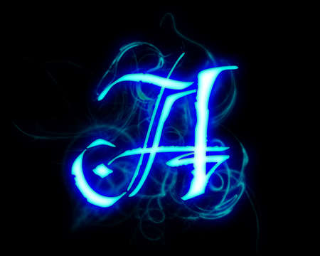 fiery: Blue flame magic font over black background. Letter A
