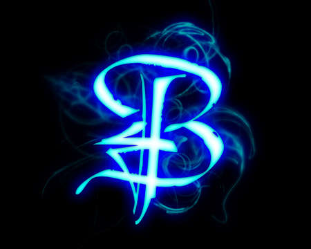 Blue flame magic font over black background. Letter B photo