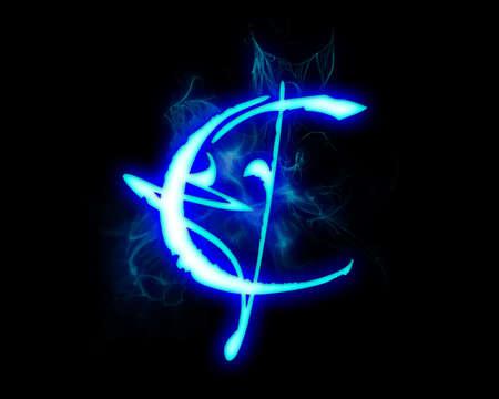 Blue flame magic font over black background. Letter C photo
