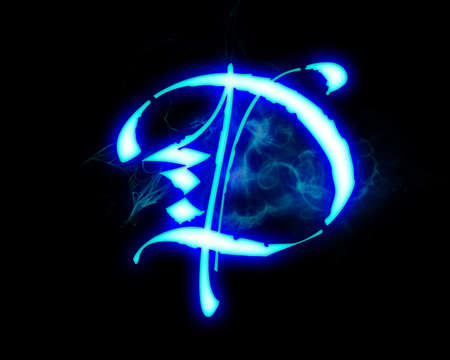 fire font: Blue flame magic font over black background. Letter D Stock Photo