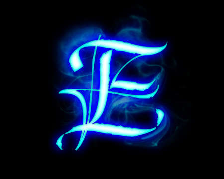 Blue flame magic font over black background. Letter E Stock Photo - 4086123