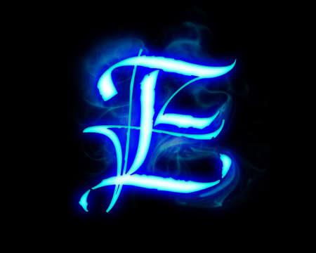 blue flame: Blue flame magic font over black background. Letter E