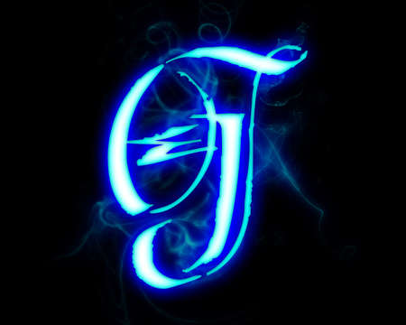 Blue flame magic font over black background. Letter G photo