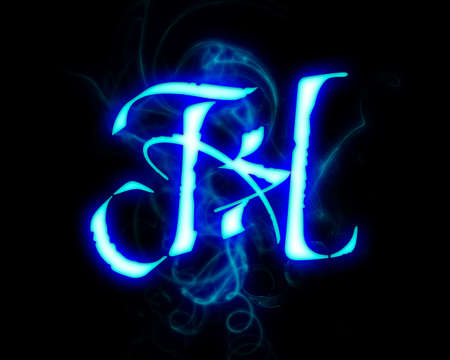 Blue flame magic font over black background. Letter H Stock Photo