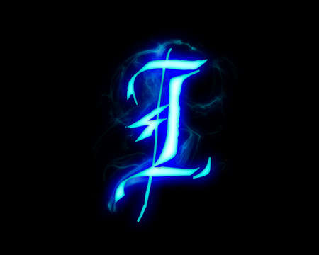 Blue flame magic font over black background. Letter I