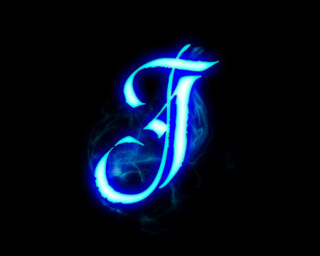 Blue flame magic font over black background. Letter J Stock Photo