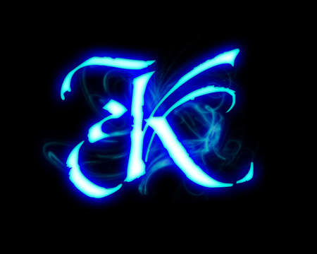 Blue flame magic font over black background. Letter K