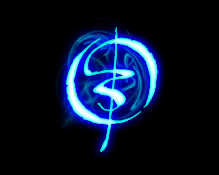 fiery font: Blue flame magic font over black background. Letter O