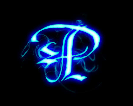 Blue flame magic font over black background. Letter P