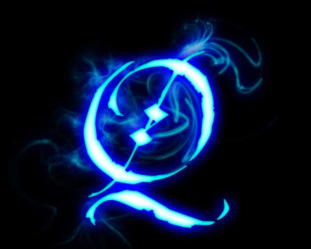 fiery font: Blue flame magic font over black background. Letter Q Stock Photo
