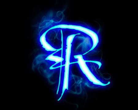 fervent: Blue flame magic font over black background. Letter R