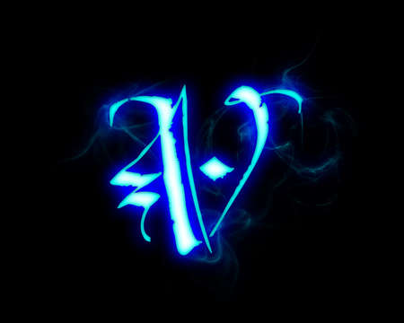 fiery: Blue flame magic font over black background. Letter V