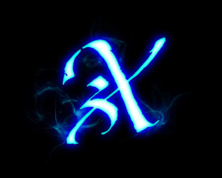blue flame: Blue flame magic font over black background. Letter X Stock Photo