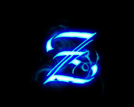 flame alphabet: Blue flame magic font over black background. Letter Z