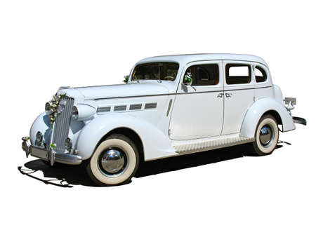 retro vintage white dream wedding car isolated photo