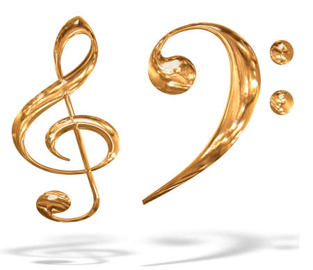 treble clef: 3D gold pattern musical key symbols concept isolated over white background Stock Photo