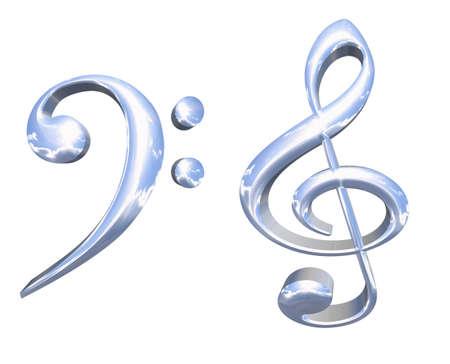 clave de fa: 3D plata o cromo principales s�mbolos musicales concepto aislado m�s de fondo blanco