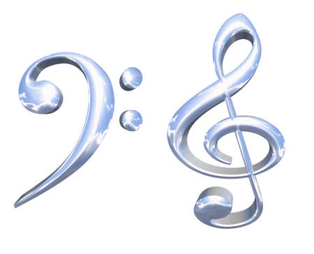 3D silver or chrome musical key symbols concept isolated over white background photo