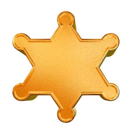 sheriffs: 3d golden pattern sheriffs badge concept over white background