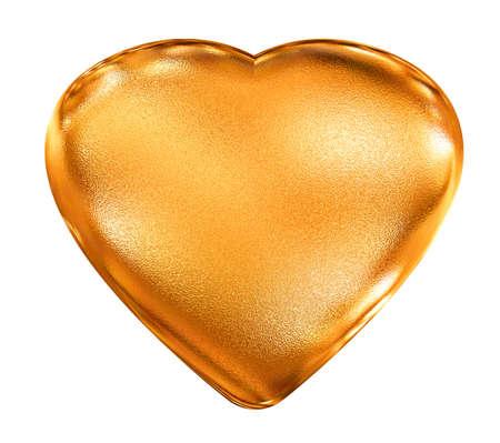 Golden pattern 3d heart - valentines love symbol photo