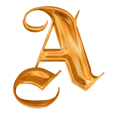 Golden pattern gothic letter A photo