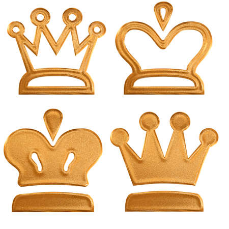 Four abstract golden pattern crown Stock Photo - 4254948