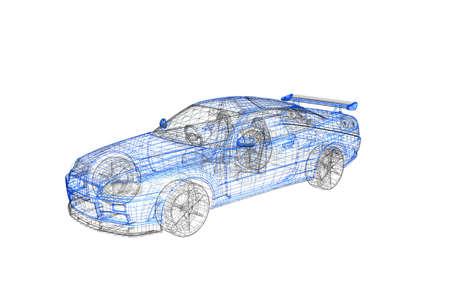 grid: 3d concetto moderno modello di auto progetto Archivio Fotografico