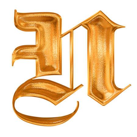 Golden pattern gothic letter N photo