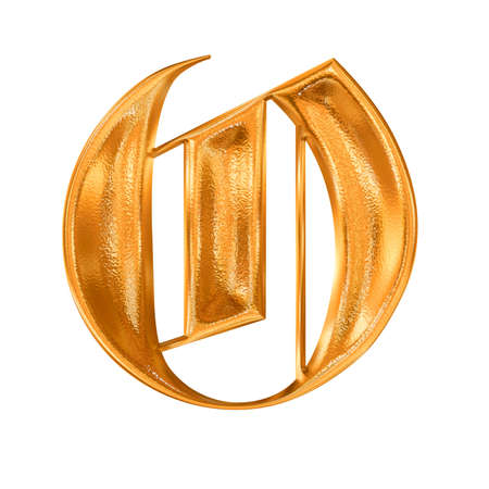 hot surface: Golden pattern gothic letter O Stock Photo