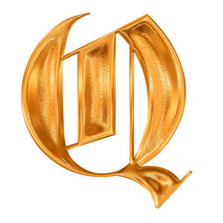 Golden pattern gothic letter Q Stock Photo