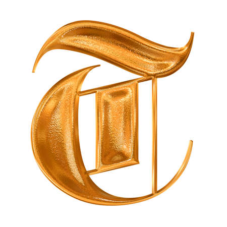 hot surface: Golden pattern gothic letter T Stock Photo