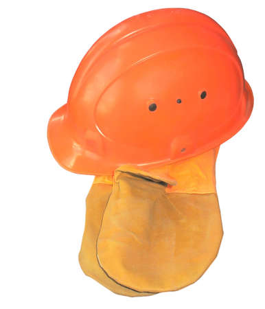 Orange construction helmet with glove mittens isolated on white background Stock Photo - 4359240