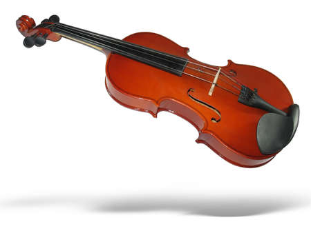 string instrument: Musical classic violin with shadow isolated on white background