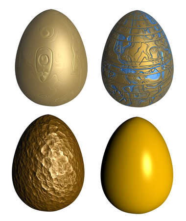 four golden patterned easter eggs isolated over white photo