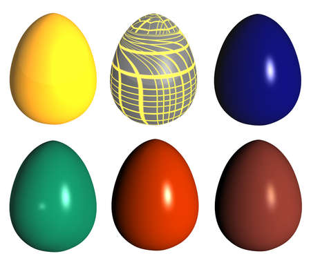 six easter eggs different colors and pattern isolated over white photo