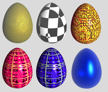 six abstract patterned easter eggs isolated over gray background photo