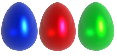 blue, red and green glass decorative easter eggs isolated over white background photo