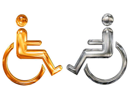 Golden and silver patterned symbol of handicap wheelchair invalid icon Stock Photo
