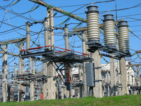 High voltage  electric converter wire equipment at a power plant Stock Photo