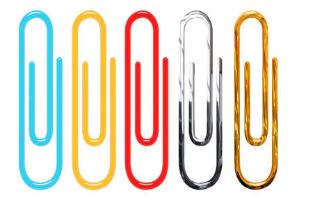 paperclips isolated over white - golden, metallic, red, yellow and blue photo