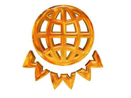 golden patterned globe and WWW letters - internet concept over white photo