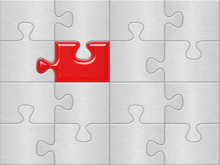 gray puzzle plane surface background with one red piese Stock Photo - 4669126