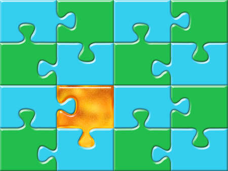 patience: green and blue puzzle surface with one golden piese