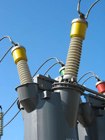 Industrial high voltage converter detail at a power plant photo