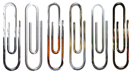 metallic, chrome, silver paperclips isolated over white Stock Photo - 4669113