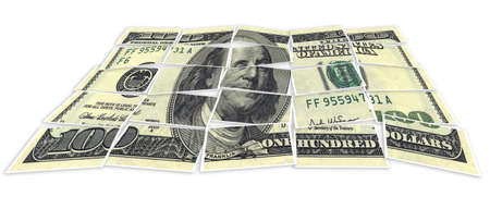 Image of dollar made of puzzles over white background photo