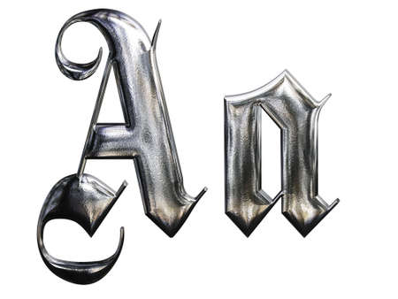 Metallic patterned letter of german gothic alphabet font. Letter A photo