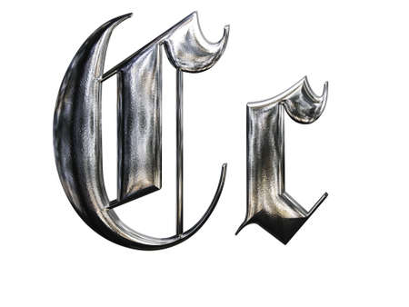gothic design: Metallic patterned letter of german gothic alphabet font. Letter C